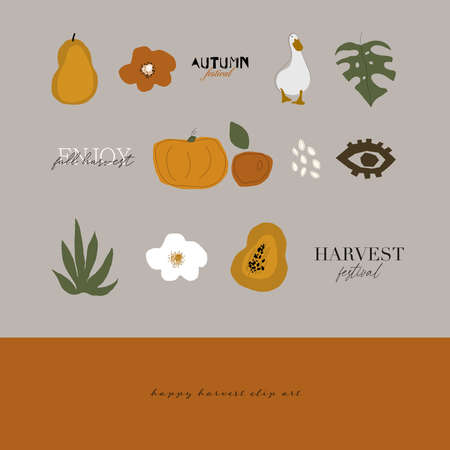 cute harvest autumn clip art elements and text inscriptions