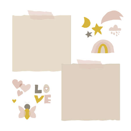 cute nursery clip art and stickers for kids design 일러스트