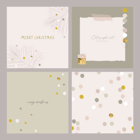 Abstract Christmas greeting card background with colorful confetti and xmas gold foil glitter decoration 写真素材