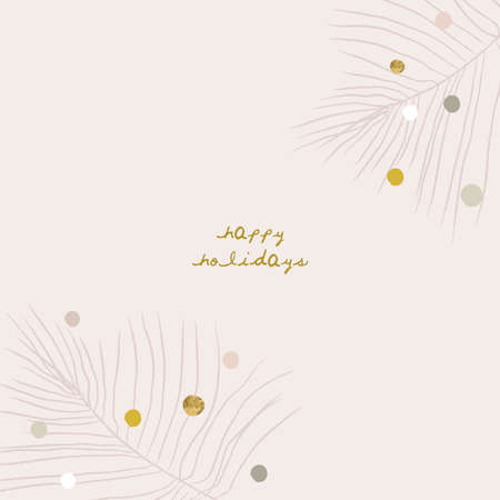 Abstract Christmas greeting card background with colorful confetti and xmas gold foil glitter decoration  イラスト・ベクター素材