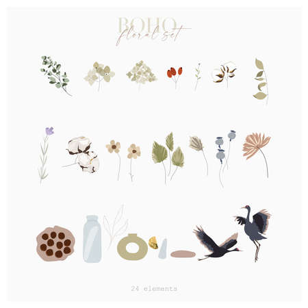 Botanical autumn illustration set