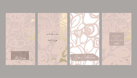 Floral collection set trendy chic social media stories backgrounds with botanical rose flower