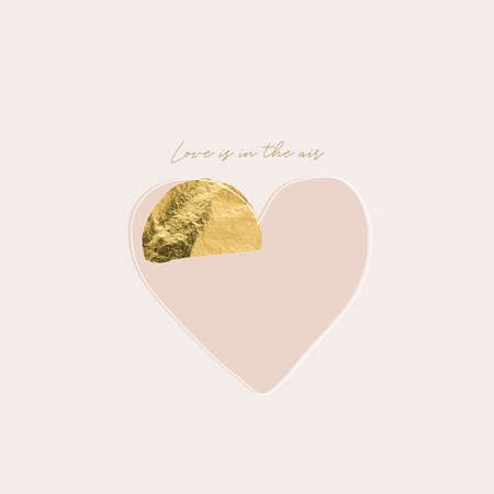 gold glitter line delicate heart on blush pink background