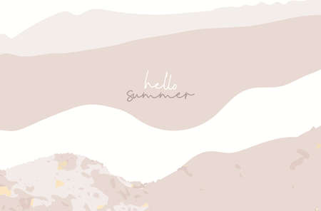 New collection Summer chic banner template, brush stroke pink beige shades and gold foil touch landscape abstract modern background. Иллюстрация
