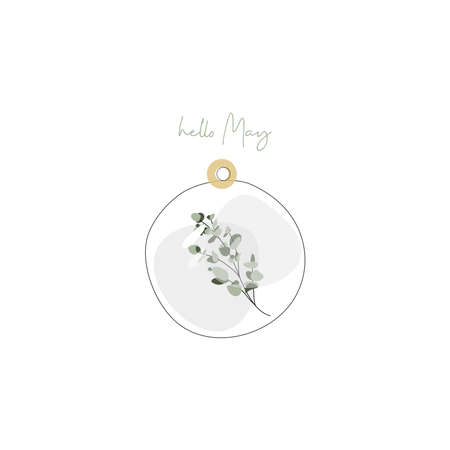Vector delicate glass capsule with eucalyptus leaves branch jewelry botanical Иллюстрация