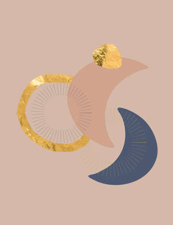 Modern abstract celestial background illustrations gold Фото со стока