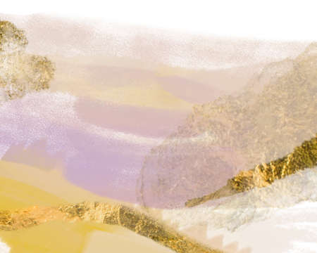 Abstract brush stokes modern fine art painting digital illustrations with gold foil ink brush textures.