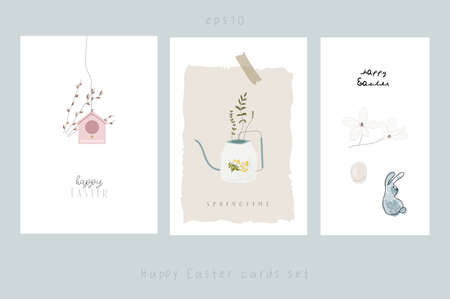 happy easter greeting cards set with spring cartoon floral and animals illustrations