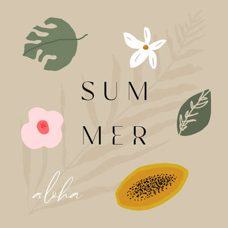 tropical summer illustrations with fruits, tropics, palm leaves, flowers with text Aloha Summer.