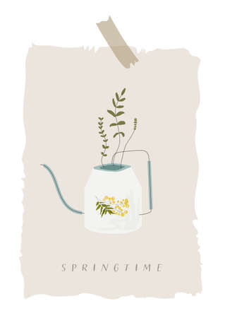 Springtime vector illustration of watering can with mimosa flower on it