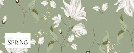 floral spring social media banner Иллюстрация