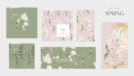 Floral collection of spring banners