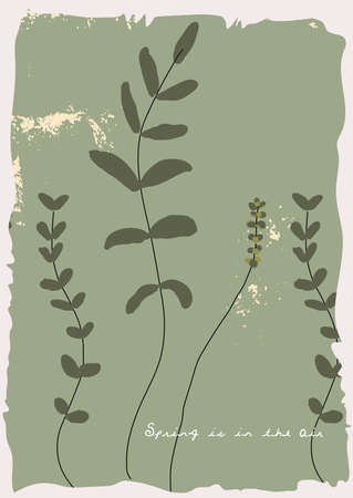 Floral rustic background with hand drawn doodle flowers and botanical elements.