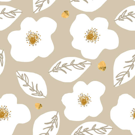 Floral abstract daisy flower seamless pattern