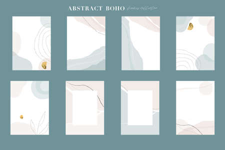 Abstract boho frames collection. Art shapes, geometric and brush textures