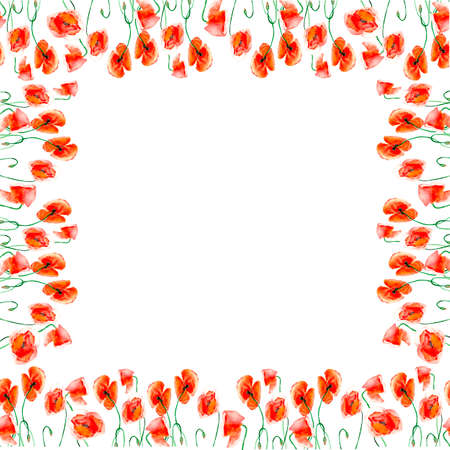 Watercolor frame of red poppies