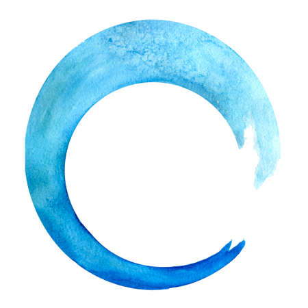 Watercolor illustration of an isolated waveform brushstoke of blue color