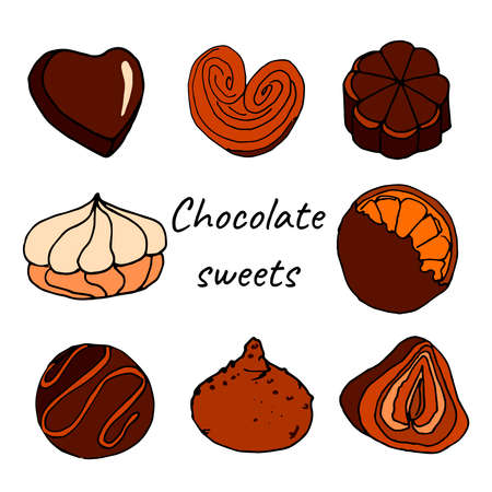 Colored chocolate sweets doode set Vector Illustratie