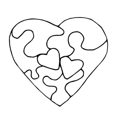 EPS10. Doodle of a heart shaped puzzle as a game, coloring, icon, valentine's day card or design, wedding design etc. as symbol of togetherness and love