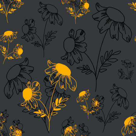 Vector pattern with black and yellow daisies outlines on dark gray background for template, textile, typography, wallpaper, decoration.EPS10