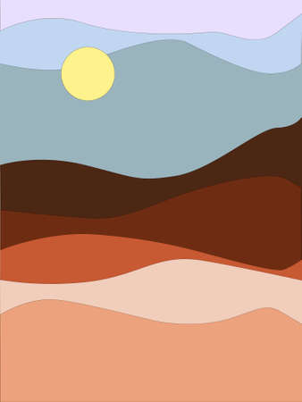 Simple abstract landscape design in earth tones EPS10 vector illustration for decor, print, poster, broshure etc. Ilustração