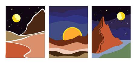 Three minimalist landscapes at night vector eps Vetores