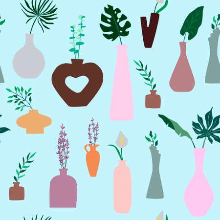 Minimalist vases with plants vector pattern design