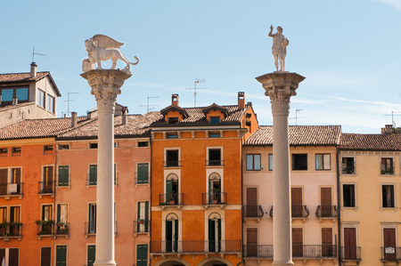 The column with the Lion of Saint Mark in Lords Square in Vicenza photo