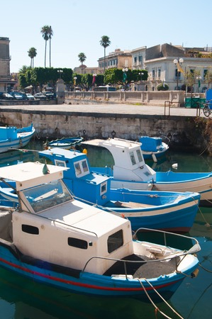siracuse: View of Umberto I bridge in Siracuse and fishing boats