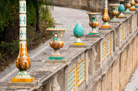 Typical pieces of Caltagirone ceramics  used as a ornament on the wall of the main public gardens of the town