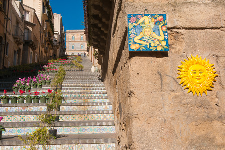 folkloristic: Perspectives of the famous Caltagirone staircase with some typical folkloristic ceramic souvenirs Stock Photo