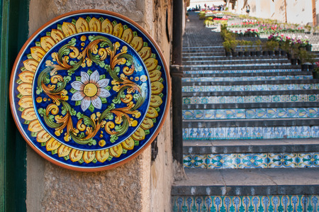View of a colored ceramic plate from Caltagirone in its famous staircase