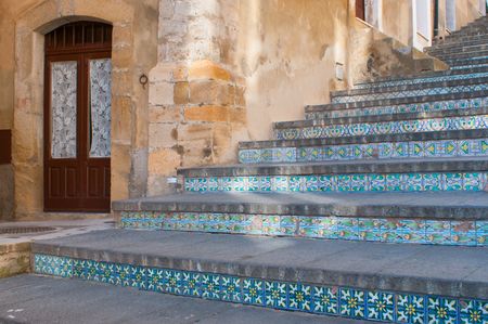 характеристика: Perspectives of the famous Caltagirone staircase with its characteristic decorated steps