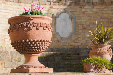 Typicsal terracotta vase of Caltagirone, used as an ornament in a little square of the town photo