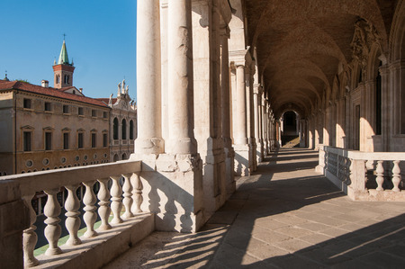 Perspective of the columns of the Basilica palladiana in Vicenza and St. Vincenzo church on the left