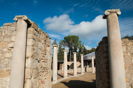 VIew of the columns at the entrance courtyard of the old roman Villa del Casale in Piazza Armerina, Sicily photo