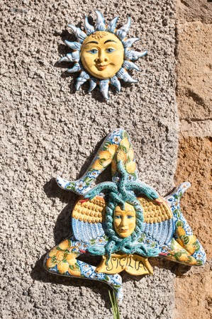folkloristic: Some typical ceramic souvenirs from Caltagirone hung outside a tourist shop