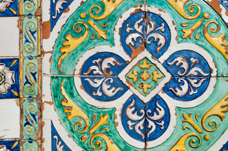 Patterns of colored ceramic tiles along the sides of Saint Francesco bridge in Caltagirone