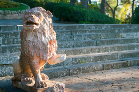 public figure: Ornamental ceramic statue of a lion in the public gardens of the town Caltagirone