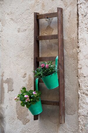 ortigia: View of a characteristic ornamental wooden ladder with some flowered vases in one of the alleys in Ortigia, the old part of Syracuse