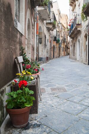 ortigia: View of one typical street in Ortigia, the old part of Syracuse, and some ornamental flowered vases