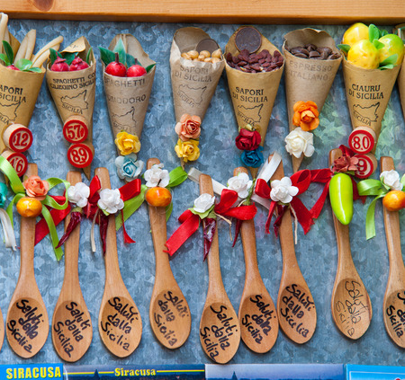 syracuse: Detailed view of some typical and coloured souvenirs along the streets of Ortigia, the old part of Syracuse Stock Photo