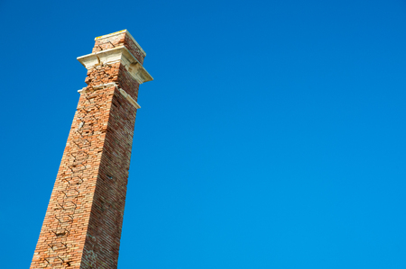 smokestack: The smokestack of the old fishing factory in Marzamemi, Eastern sicily