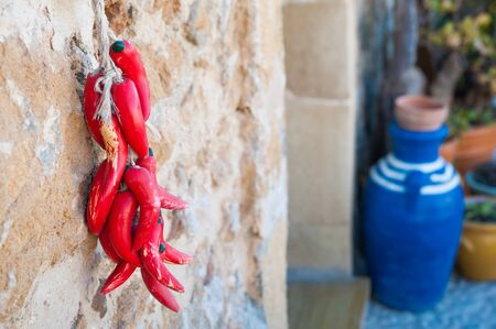 demijohn: Small pile of fake red peppers hanging on the wall of a typical stone house in the fishing village Marzamemi, Sicily and a blue ceramic demijohn in the background