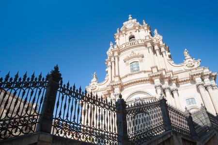 ragusa: Tha facade of St. George church in Ragusa Ibla, seen from one side of its external staircase