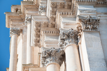 sumptuous: Architectural baroque elements of Saint George church in Ragusa Ibla Stock Photo
