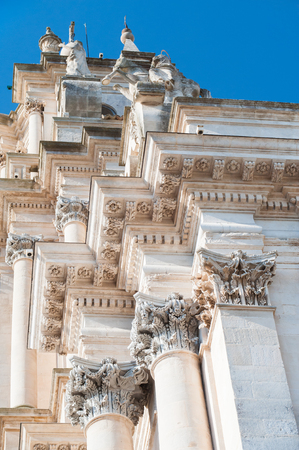 ragusa: Architectural baroque elements of Saint George church in Ragusa Ibla Stock Photo