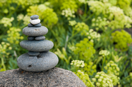 green vegetation: Stone pile with green vegetation behind it Stock Photo