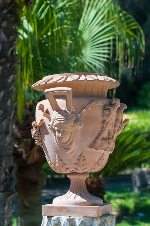 public figure: Close-up view of a typical ceramic vase from Caltagirone used as an ornament in the main public gardens of the town