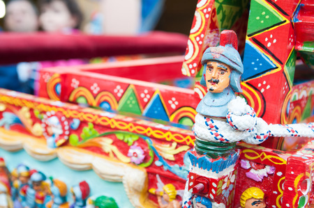 CLose up view of a colorful detail of a typical sicilian cart Stok Fotoğraf - 47092450